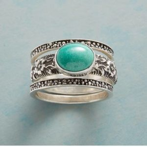 Sundance Stacked Turquoise and Silver Rings